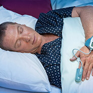 Man undergoing sleep study