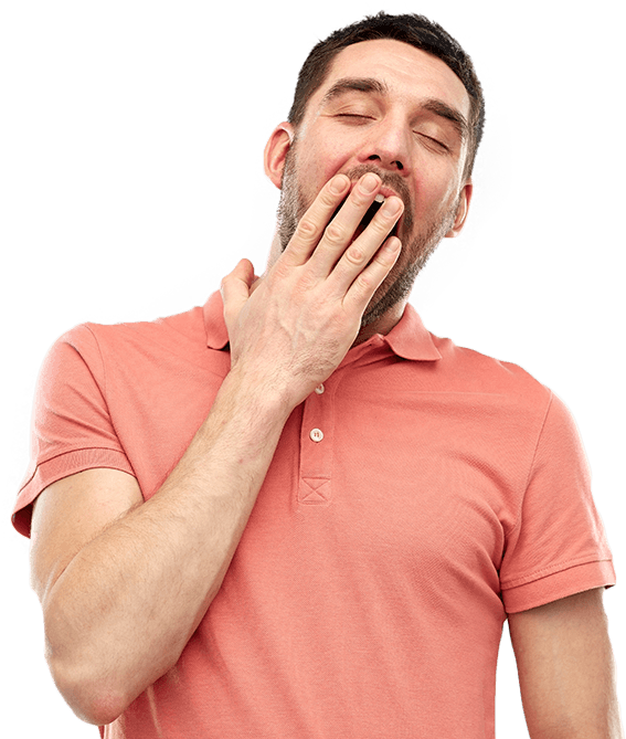 Yawning man covering his mouth